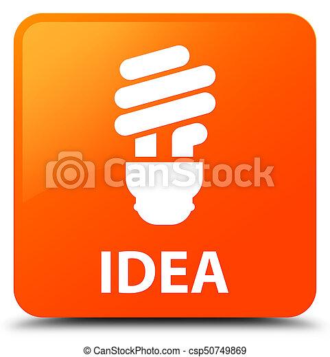 Idea (bulb icon) orange square button - csp50749869