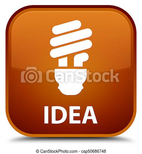 Idea (bulb icon) special brown square button - csp50686748