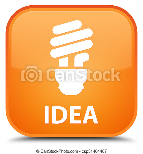 Idea (bulb icon) special orange square button - csp51464407
