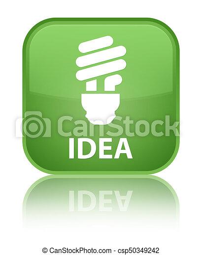 Idea (bulb icon) special soft green square button - csp50349242