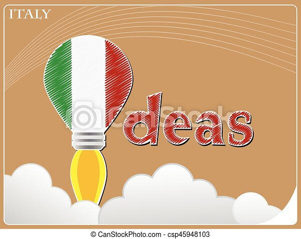 Idea concept made from the flag of Italy, conceptual vector illustration - csp45948103