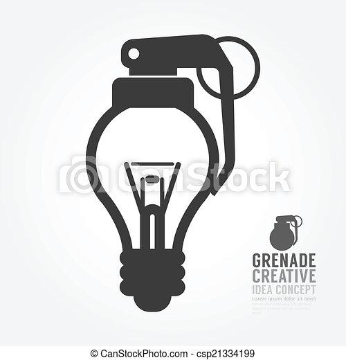 Distorsión de la bombilla de vectores del concepto de granada de idea - csp21334199