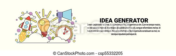 Idea Generator Business Creativity Concept Horizontal Web Banner With Copy Space