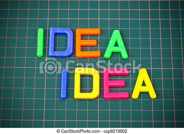 Idea in colorful toy letters oncutting mate - csp9219902