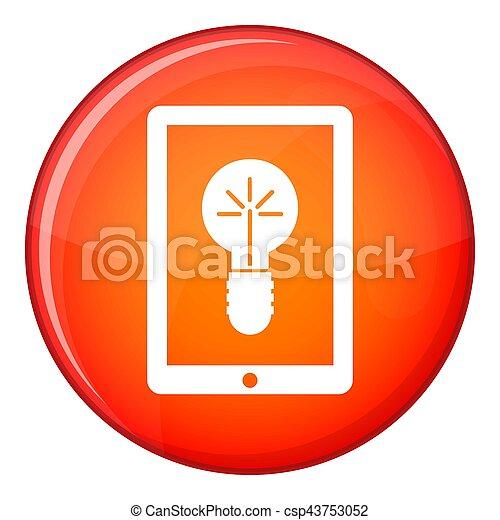 Idea lamp on gadget screen icon, flat style - csp43753052