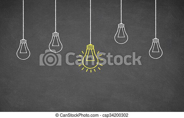 Idea Light Bulb on Blackboard - csp34200302