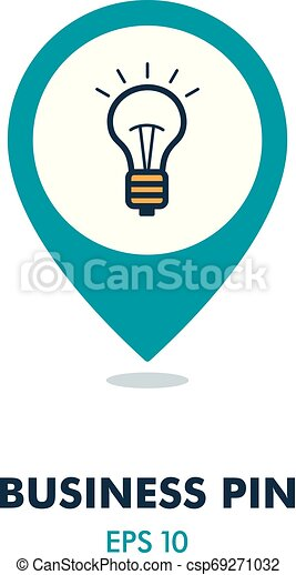 Idea, Lightbulb pin map icon. Business sign - csp69271032