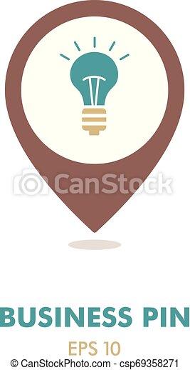 Idea, Lightbulb pin map icon. Business sign - csp69358271