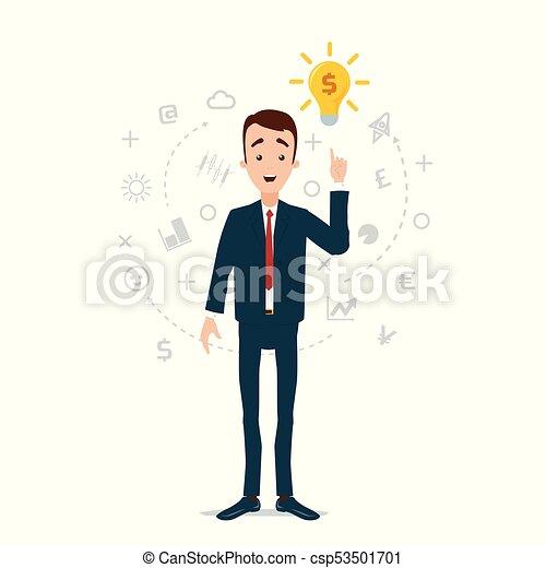 idea, luce, preso, idee, came, fire., pensieri, uomo affari, bulbo, nuvola - csp53501701