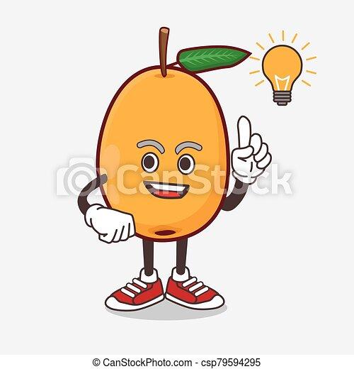 idea, mascota, fruta, caricatura, loquat, conseguir, carácter - csp79594295