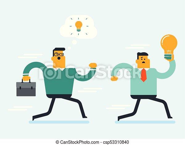 idea, rubare, uomo affari, caucasian bianco, uomo - csp53310840