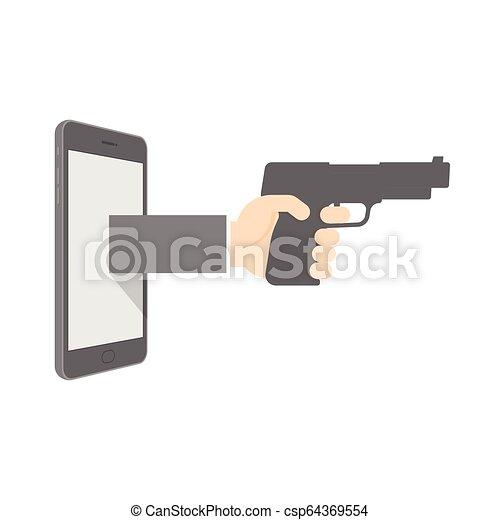 Smartphone con pistola de mano estableció el concepto de ciber-crimen de Internet ilustración aislada en el fondo blanco, con espacio de copia - csp64369554
