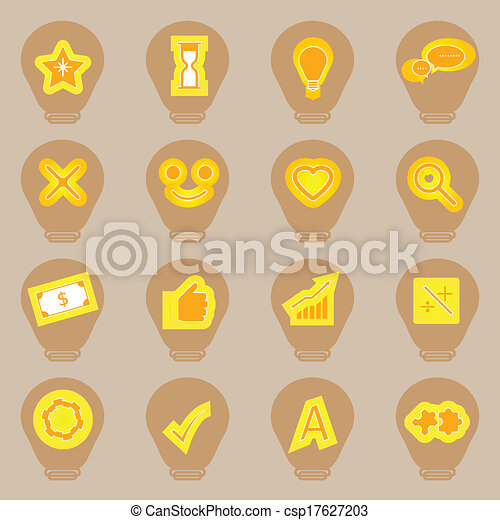 Idea symbol icons sticker on light bulb shape - csp17627203
