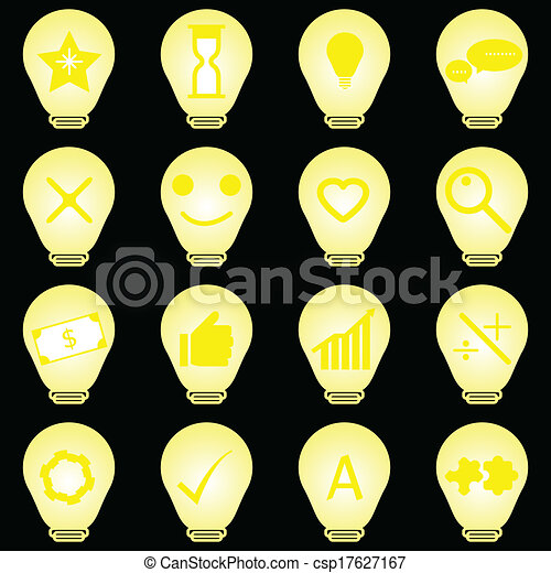 Idea symbol in light bulb icons on black background - csp17627167