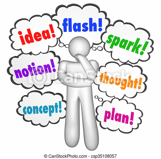 idea thought creative thinking clouds thinker imagination words rh canstockphoto com Creative Thinking Clip Art Person Thinking Clip Art