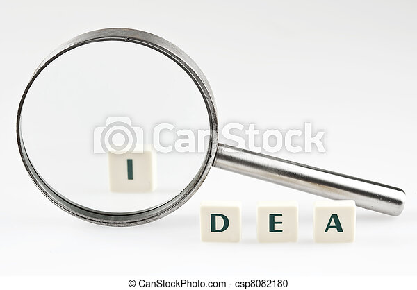 Idea word and magnifying glass - csp8082180