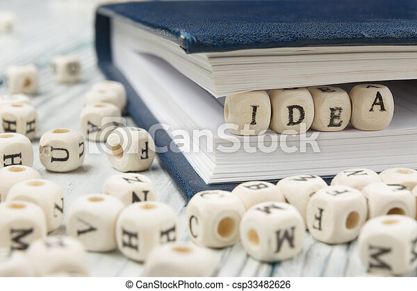 IDEA word formed by wood alphabet blocks. Wooden ABC - csp33482626