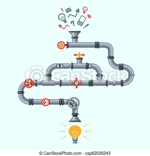Ideas Generator Idea Generation Machine Industry Pipeline Factory Machines With Lighting Lamp Business Process Vector Concept