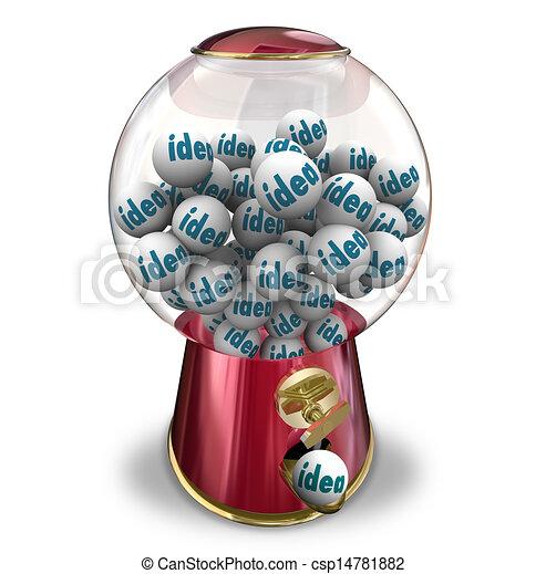 Ideas Gumball Machine Many Thoughts Imagination Creativity - csp14781882