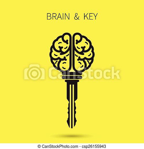 Kreatives Gehirnzeichen mit Schlüsselsymbol. Der Schlüssel zum Erfolg. Business- und Bildungskonzept. - csp26155943
