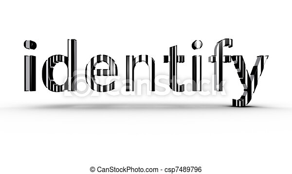 Identification concept using black and white bar code - csp7489796