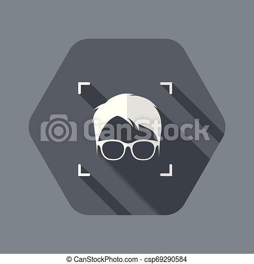 Identification of face with glasses - csp69290584