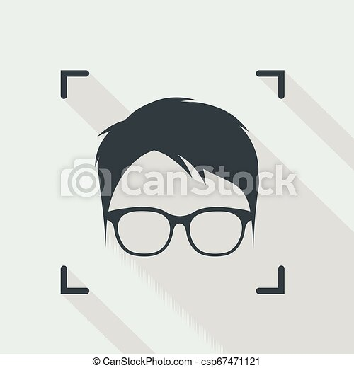 Identification of face with glasses - csp67471121