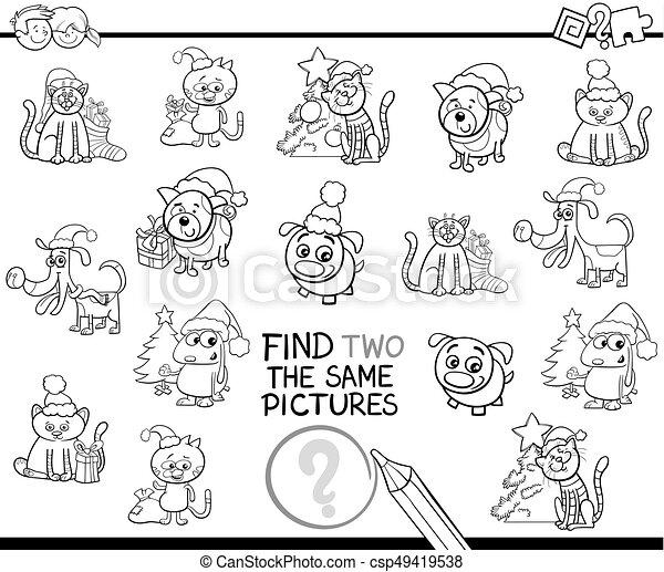 Identisch, färbung, posten, finden, seite, haustiere,... Vektoren ...