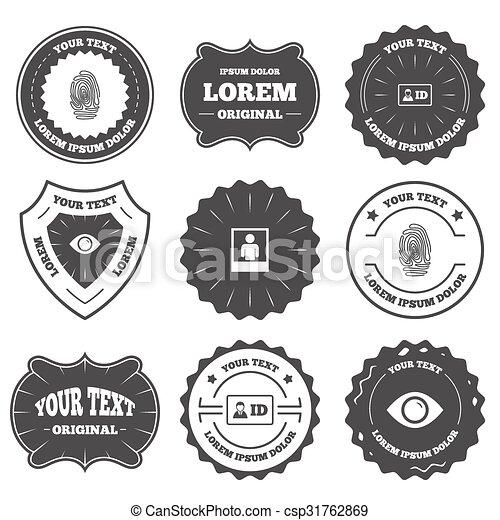 Identity Id Card Badge Icons Eye Symbol Vintage Emblems Labels