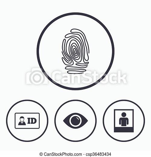 Identity Id Card Badge Icons Eye Symbol Identity Id Card Badge