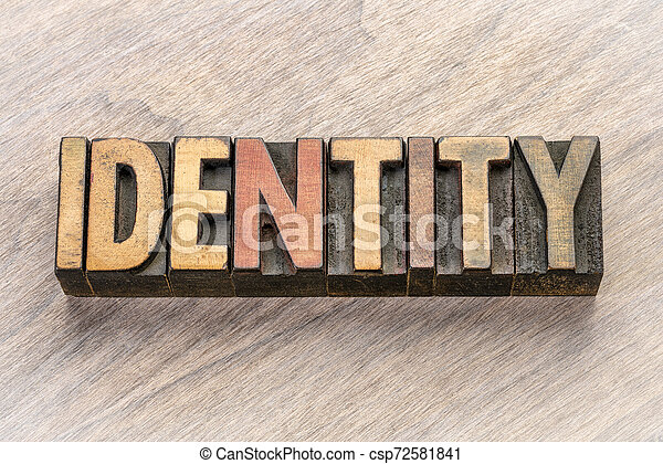 identity word abstract in wood type - csp72581841