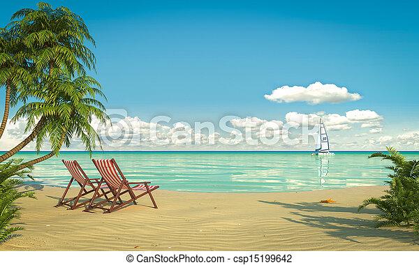 idillikus, tengerpart, caribean, kilátás - csp15199642