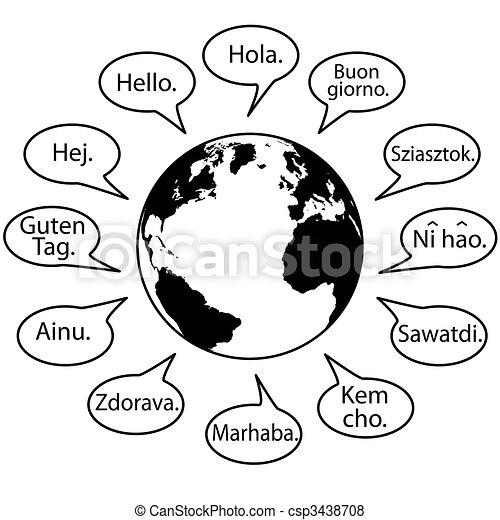 Traduce los idiomas terrestres y saluda al mundo - csp3438708
