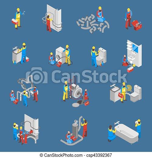 idraulico, set, persone, isometrico, icona - csp43392367