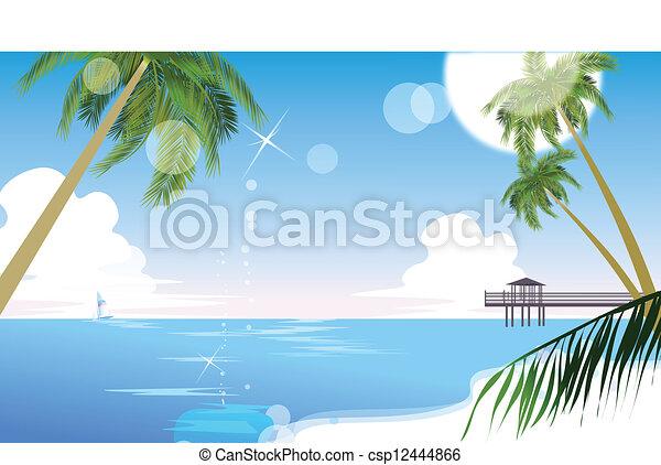 Idyllic beach with palm tree - csp12444866