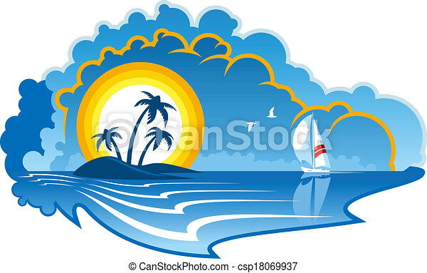 idyllic tropical island with a yacht vector cartoon vectors rh canstockphoto com