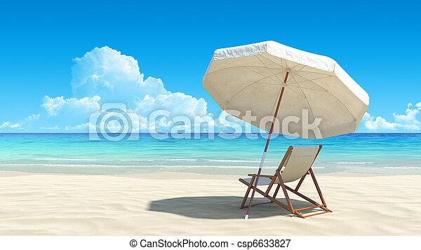idyllisch, paraplu, tropische , zand, stoel, strand - csp6633827