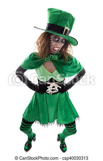 Tradities Halloween.Ierse Concept Tradities Vrijstaand Kwaad Meisje Groen Wit Kabouter