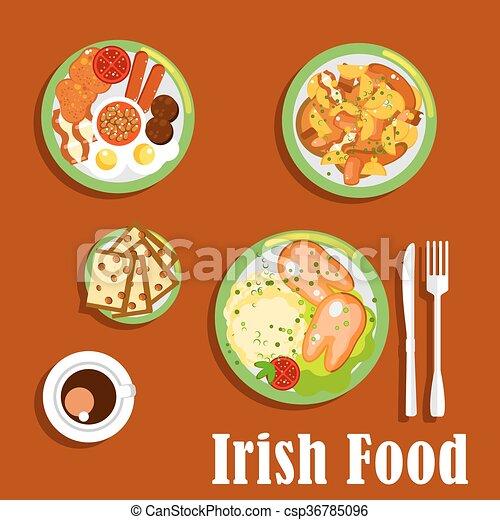 ierse , tomaten, bakt, voetjes, stoofvlees, ontbijt, stijl, kop, groentes, topped, sausages, brood, plat, koffie, gekookte eieren, mashed, zwijnen, pictogram, vlees, aardappel, barmbrack., rozijn, traditionele , bonen, gebraden, wortel - csp36785096