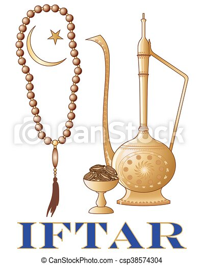 Iftar invitation a vector illustration in eps 10 format of an iftar a vector illustration in eps 10 format of an iftar party invitation with islamic jug dates prayer beads and crescent moon symbol on a white background stopboris Choice Image