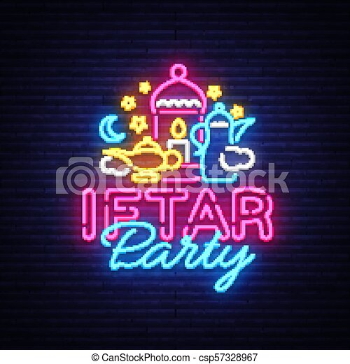 Iftar party invitation card vector illustration iftar party festive iftar party invitation card vector illustration iftar party festive illustration design template in modern neon style muslim holiday of holy month ramadan stopboris Image collections