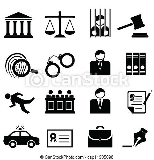 igazságosság, jogi, törvény, ikonok - csp11305098