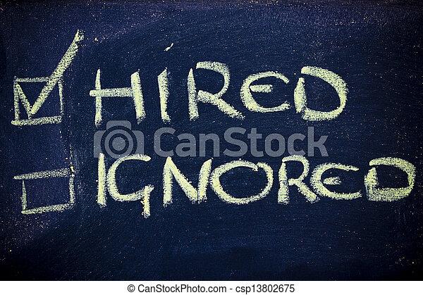 ignoré, reussite, loué, job:, regarder, pas - csp13802675