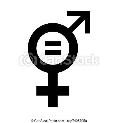 igualdad, illustration., icono, vector, género - csp74087950