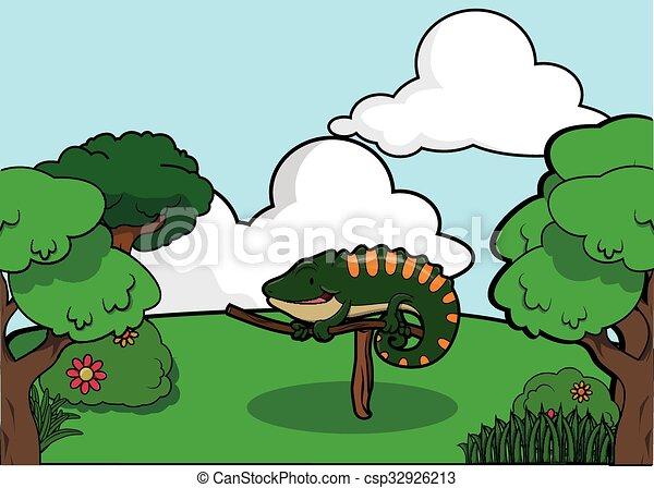 Iguana around forest scenery - csp32926213