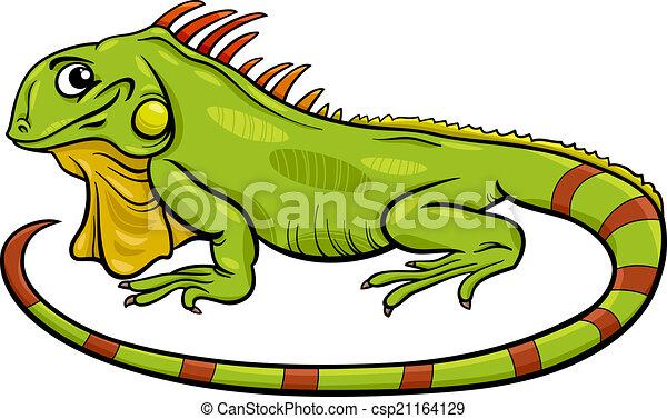 iguane, dessin animé, illustration, animal - csp21164129