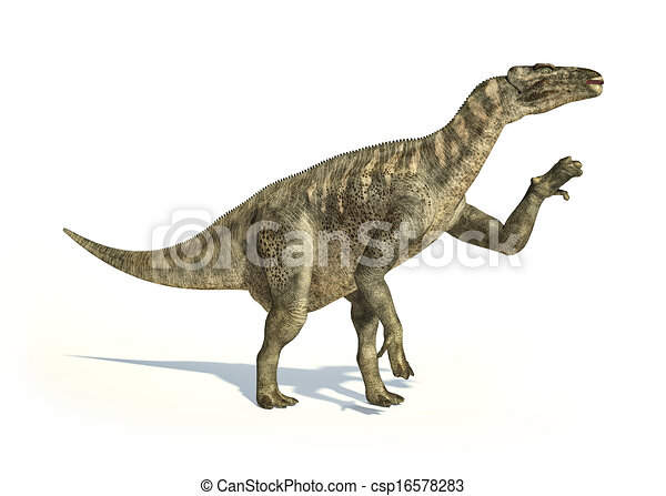Iguanodon Dinosaur photorealistic and scientifically correct representation, in dynamic posture. On white backgraound and drop shadow. Clipping path included. - csp16578283