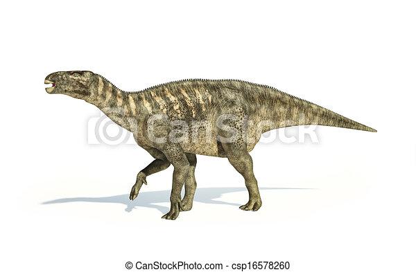 Iguanodon Dinosaur photorealistic representation, side view. - csp16578260