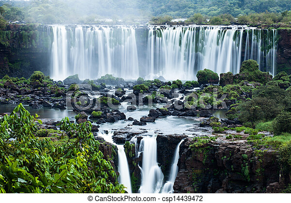 Iguassu Falls, the largest series of waterfalls of the world, located at the Brazilian and Argentinian border, View from Brazilian side - csp14439472