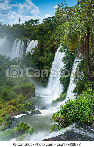 Iguassu waterfalls bordering Argentina Brazil - csp17928672